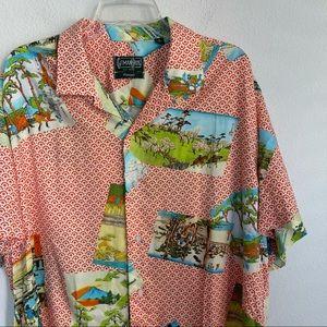 Gitman Bros Vintage Rayon Hokusai Camp Shirt
